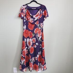 Jacques Vert Purple Floral Print Dress Size 12